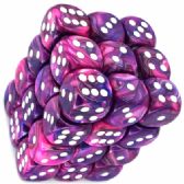 Violet & White Festive 12mm D6 Dice Block